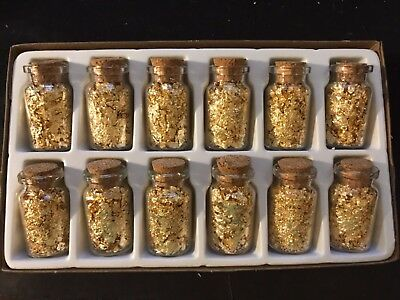 Gold Flakes in 7 ML Glass Bottles w/Cork ~ SET OF 12 ~ LIMITED QTY!! BEAUTIFUL!!