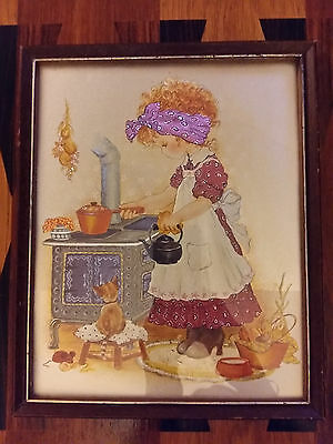 ORIGINAL 1970/80s VINTAGE CHILDREN'S FRAMED PICTURE/ART, CLASSIC COUNTRY GIRL