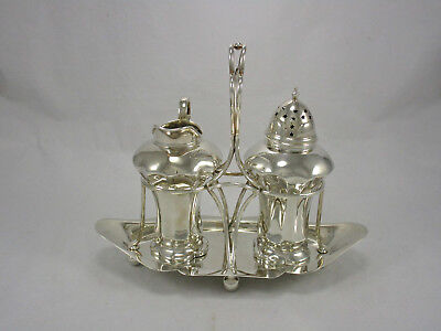 Antique English Silver Plate Art Deco Sugar Shaker & Creamer Caddy Stand Holder