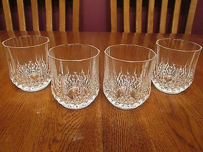 Set Of Four Vintage Cristal D'Arques Longchamp Crystal Old Fashioned Glasses