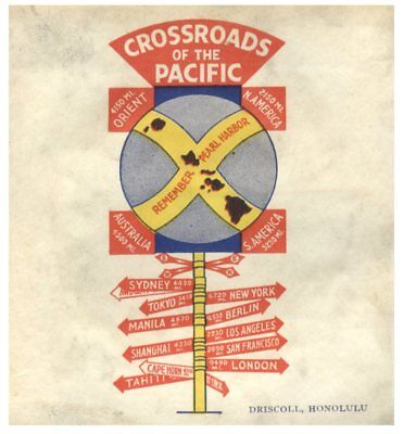 Crossroads Of The Pacific, Hawaii Luggage Label c1930's