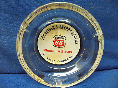 Phillips 66 Ashtray Schneider's Snappy Service Quincy Il Gas Station