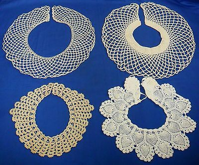 Lot of 4 Vtg Antique Hand CROCHET LACE Round Scalloped Dress COLLARS White Ecru