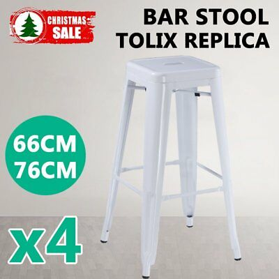 4x Replica Tolix Bar Stool Metal Kitchen Cafe Home Dining Chair 66/76cm White OZ