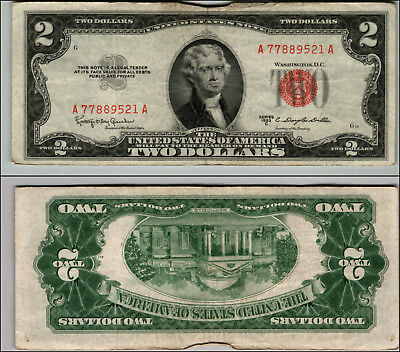 1953C $2 Dollar Bill Old Us Note Legal Tender Paper Money Currency Red Seal W391