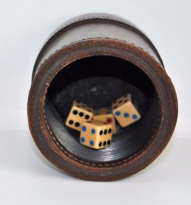 VTG Genuine Brown Leather Dice Cup, Professional Quality Ribbed Interior. games