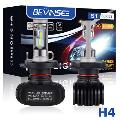 2x H4 9003 HB2 8000LM LED Headlight Kit Hi/Low Beam CSP Power Bulbs 6500K White