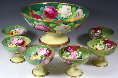 Hand Painted Punch Bowl And Cups Or Ice Cream Set