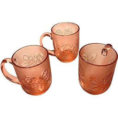 Vintage Set of 3 Pink Arcoroc Rosaline Frosted Rose Coffee Mugs (Made in France)
