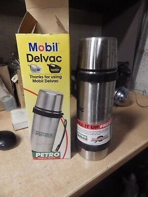 Vintage Mib Unused Chrome Mobil Gas Oil Advertising Delvac Thermos