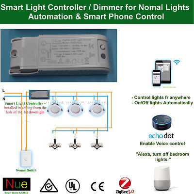 Smart light controller / Dimmer for Google Home Mini Echo Alexa Voice Control