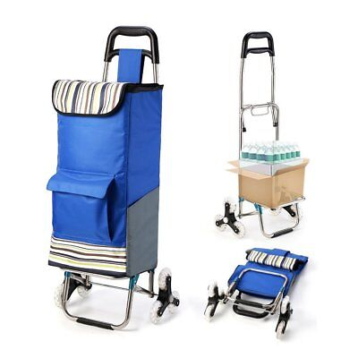 Upgraded Folding Shopping Cart with Stair Climbing Grocery Laundry Utility Wheel