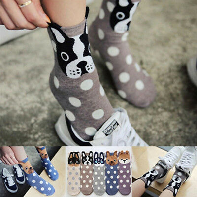 3D Women Girls Ladies Character Novelty Cartoon Polka Dot Dog Kawaii Ankle Socks