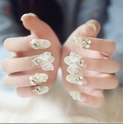 J'24 Pcs Set Bling Bling Drill Non-Glue Press-On Completed Nail Tips Fake Nails*