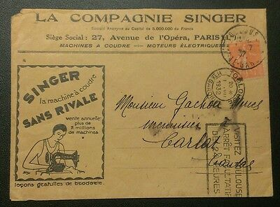 France 1932 Singer Sewing Machine Advertising Cover
