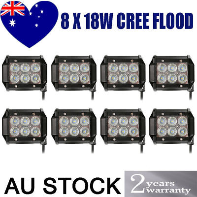 8x 4inch 18W Cree LED Work Light Bar Driving Lamp Flood Truck Offroad UTE 4WD