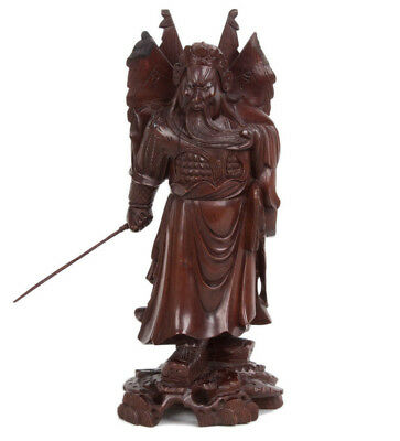 China 20. Jh. Holz Statue - A Chinese Carved Hardwood Figure Of Guan Yu Chinois