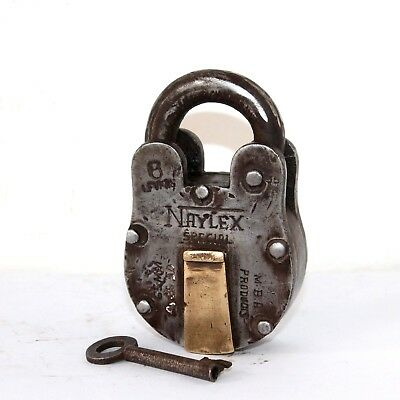 Old 1920s Antique Beautiful Handmade NAYLEX SPACIAL Marked 6 Lever Iron Pad Lock