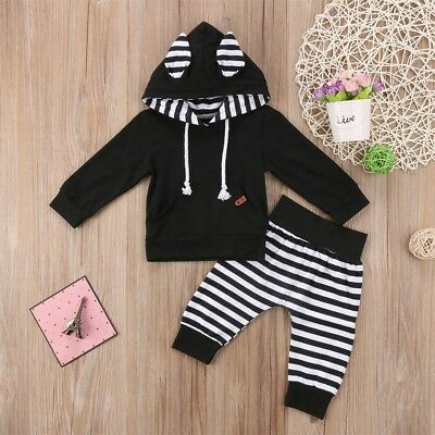 AU Newborn Baby Kids Boy Girl Hoodie Hooded Top T-shirt+Pants Outfit Clothes Set