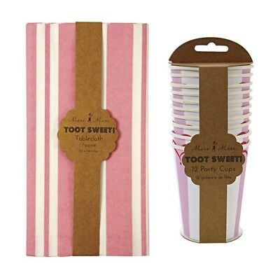 Meri Meri Toot Sweet Pink Stripe Party Pack (Pink Stripe Tablecloth & Party