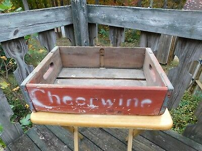 Red Vintage/Antique Wooden Cheerwine Soda Crate-Salisbury NC