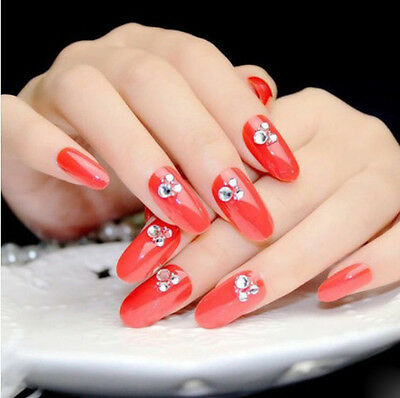24 Pcs Red Bling Bling Drill Non-Glue Press-On Beautiful Nail Tips Fake Nails*