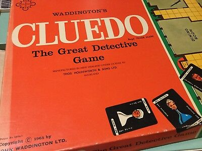 Vintage Cluedo Board Game C1965 Waddingtons Manufactured New Zealand Holdsworth
