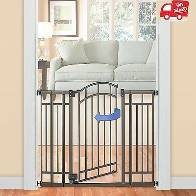 Multi-Use Walk Thru Gate Baby Safety Extra Tall Fence Pet Secure Summer Infant