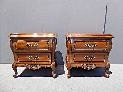 Pair Vintage HICKORY Bombay BOMBE Style NIGHT STANDS End Tables w Brass Hardware
