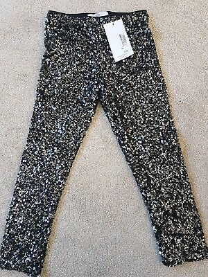 Girls M & S black sequin leggings age 6-7