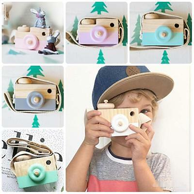 Children Kids Cute Wood Camera Toy Xmas Baby Room Decor Natural Wooden Toy Gift