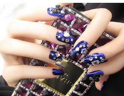 H4''Japanese Style 24 Pcs Set Bling Bling Drill Nail Tips Press-On Fake Nails*
