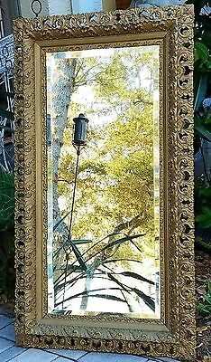 Antique French baroque beveled mirror carved wood frame gilt gesso  50x28