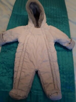 M&S Baby warm snowsuit 0-3 months silver grey cream all in one coat.