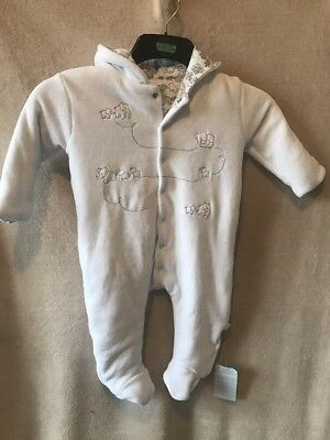 Jojo Maman Bebe All In One Embroider Elephant Pram suit 6-12 Month White