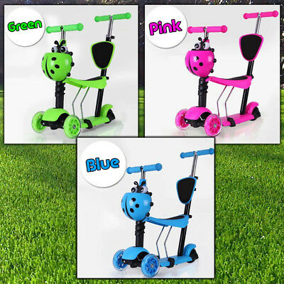 5 in 1 Kids Toddler Height Adjustable 3 Wheel Trike Flashing Push Scooter Baby