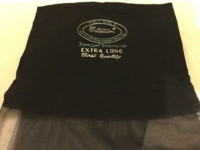 4 Pairs Extra Long Jet Black Tall Girls Citration Vintage Stockings 11x36&11x38.