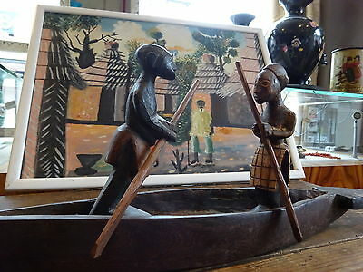 Vintage 20th Century Carved African Wooden Figures on Paddle Boat