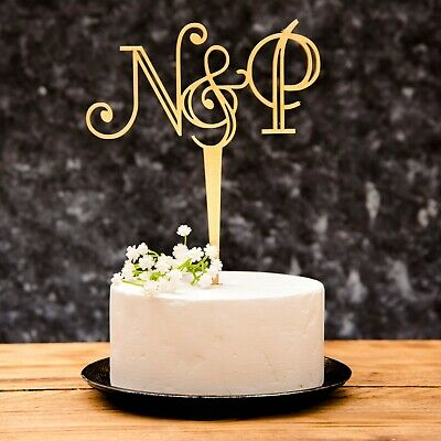 Initial Mr & Mrs Wedding Cake Topper Art Deco details Gold and Silver
