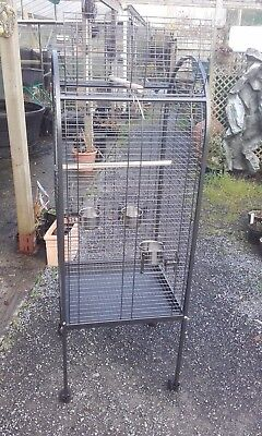 Parrot, parrotlet, Cockatiel Cage Black metal 22x22x62 inches Wheeled with acces