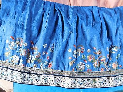 Antique Chinese Silk Embroidery Part Skirt, Two Panels, Gold Thread, Flowers