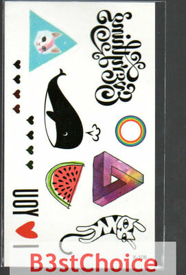 Small Fresh whale cat sometime Temporary Tattoo Stickers Body Art