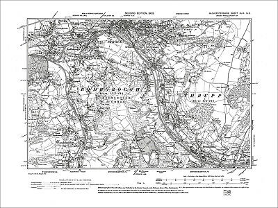 Stroud, Cainscross Rodborough, Thrupp, Old Map Gloucestershire 1903: 49NE
