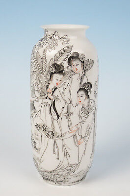 Vintage Chinese Grisaille Painted Eggshell Porcelain Vase w/ Figures SIGNED