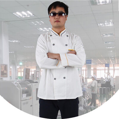 Man Long Sleeves Chef Jacket Coat Stand Collar Kitchen Cook Work Top Clever