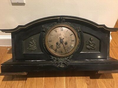 French Marble Medaille D'Argent Vincent Shelf Mantel Clock Antique Bronze Key