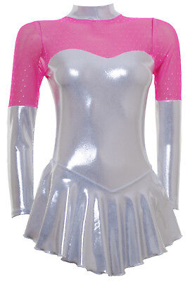 Skating Dress -SILVER SHEEN METALIC/MESH -LONG SLEEVE  ALL SIZES AVAILABLE