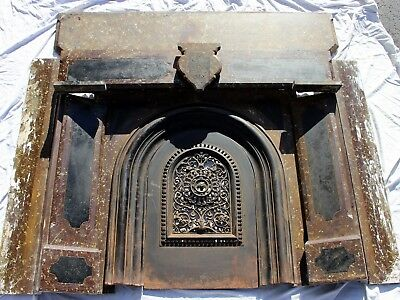 Ornate Victorian Era SLATE FIREPLACE w/ Mantel Shelf & Cast Iron Door antique