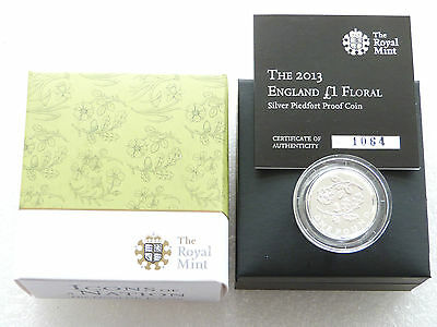 2013 Floral England Piedfort £1 One Pound Silver Proof Coin Box Coa