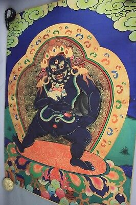 19th/20th C. Tibetan Thangka on Textile of Black Jambhala